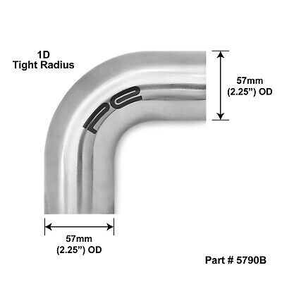"""90 degree 2.25"""" 57mm Tight 1D Mandrel Exhaust Bend T304 Stainless Steel Polished"""