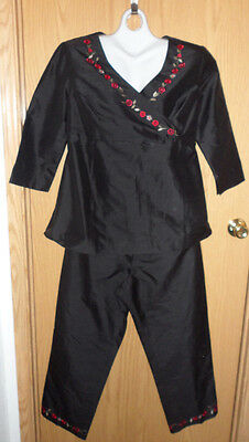 Pre-owned womens Motherhood 100% Silk maternity 2-piece outfit size M