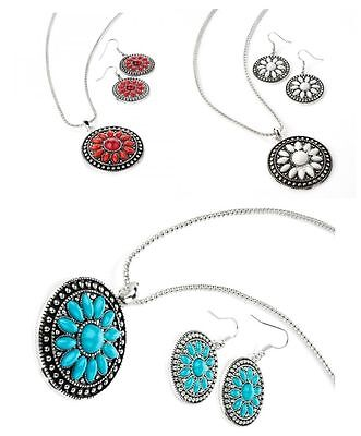Two Tone Antique Silver Effect Bead Necklace And Matching Earrings Set
