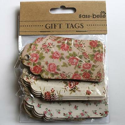 15 Large Retro Vintage Rose Floral Assorted Message Luggage Label Gift Tags