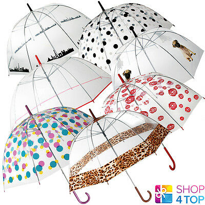 Clear Transparent Umbrella Women Prints Dome Rain Parasol Wedding Original New