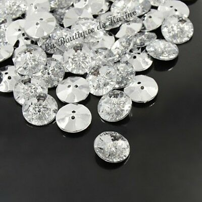 10 BOUTONS FANTAISIES STRASS TRANSPARENT 10 mm - 2 TROUS - COUTURE SCRAPBOOKING