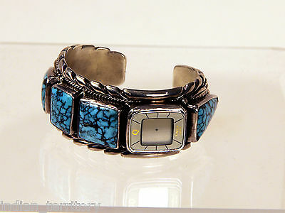 Authentic Navajo Silver Cuff Watch with Turquoise Stones