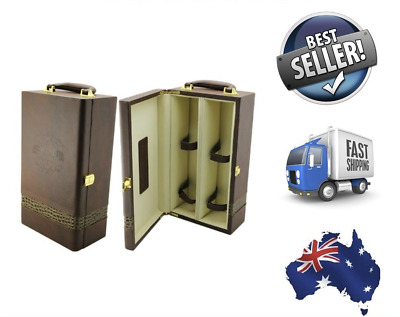 NEW - Premium Deluxe Quality Rock Gain Leather Two Wine Gift Storage Box