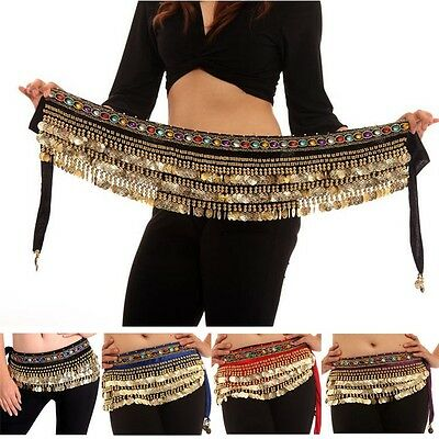 Belly Dance Costume Golden Coins Dancing Hip Scarf Wrap Belt Velvet Skirt belts