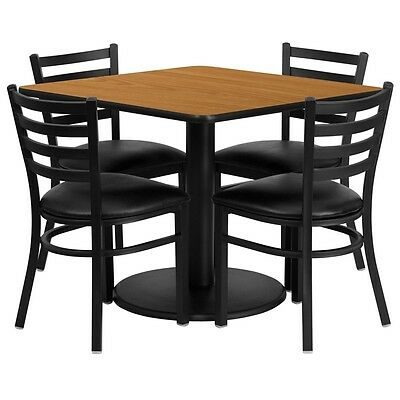 """36"""" Square Natural Laminate Top Restaurant Table Set with 4 Chairs Black Vinyl"""