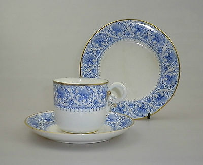 Antique Royal Worcester Porcelain Trio in Blue and White