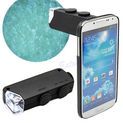 Mini Microscope Magnifier Handheld 60X-100X LED Lighted Glass Lens Jeweler Loupe