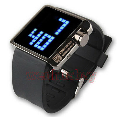 Nero impermeabile TVG LED Digital Silicone polso al Quarzo Orologio Watch Uomo