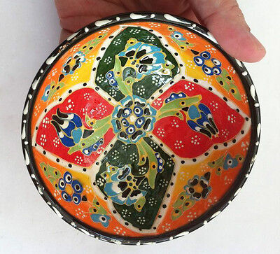 Turkish Ceramic Kutahya Tile Bowl Porcelain Ottoman 12 cm Embossed Handmade-12
