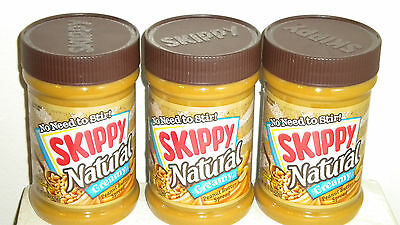 3- Jars Skippy Peanut Butter Natural Creamy 15 oz. each