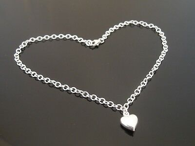 """3mm Sterling Silver Bracelet Or Ankle Chain Anklet Puff Heart Charm 7 8 9 10 11"""""""