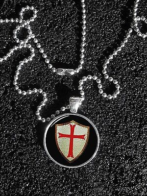 Knights Templar Shield with Red Cross Ball and Chain NECKLACE