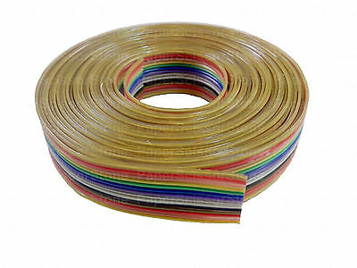 15ft 14 Way Flat Color Rainbow Multicolor Ribbon Cable Wire 28 AWG