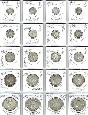 GREAT BRITAIN Lot of 20 Different Silver Coins - Dates range from 1873 - 1943