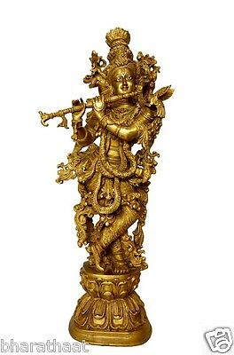 Unique Brass Statue of Lord Krishna With Fine Art Carving Work Of India RS EHS
