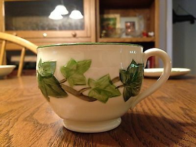 Fransican Ivy Pattern Cup 1950's Ivory Base Green Handle Marking