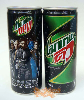 MOUNTAIN DEW Soda CAN Thailand  2Pcs  2014 X-MEM MOVIE Limited Collectible