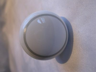 White Ceramic Drawer Pull Knob With Gray Grey Circle On Front With Screw