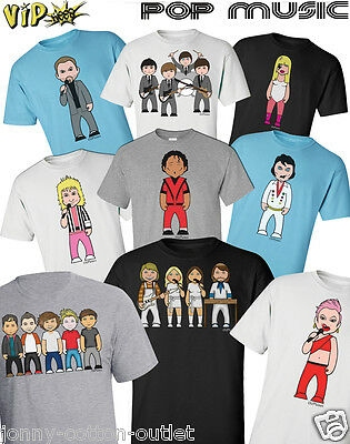 VIPwees Mens T-Shirt Pop Music Inspired Caricatures Choose Your Design