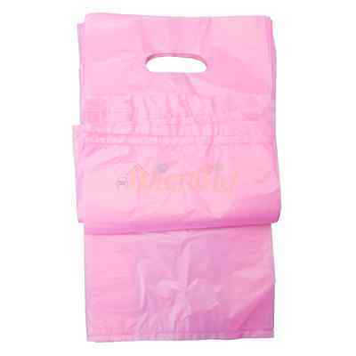 100 Plastic T-Shirt Retail Shopping Bags w/ Handles Medium 7x3x12 Pink New