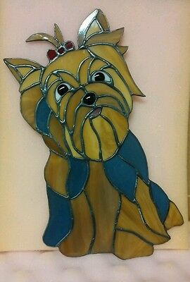 OOAK Handmade Stained Glass Yorkshire Terrier