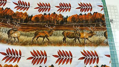 Troy Elk Gathering Elk Border 1/2 Yard Free Shipping Fabric for  Quilting