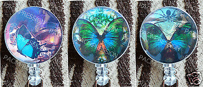 Badge Reel Retractable ID Name Card Holder Steampunk Butterflies Butterfly