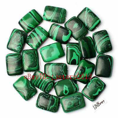 13x18mm Imitation Green Malachite Rectangle Shape Gemstone Loose Beads Strand15""