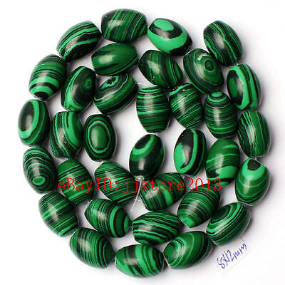 8x12mm Imitation Green Malachite Oval Shape Gemstone Loose Beads Strand 15""