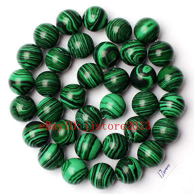 12mm Pretty Imitation Green Malachite Round Shape Gemstone Loose Beads Strand15""