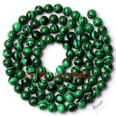 4mm Pretty Imitation Green Malachite Round Shape Gemstone Loose Beads Strand 15""