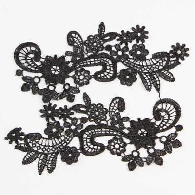 1 pair Polyester Flower Motif Embroidered Lace For Dress Decor Sewing Lace Trims