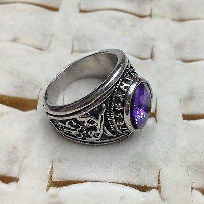 Men's Jewelry Violet Zircon Silver Double Gun 316L Stainless Steel Ring
