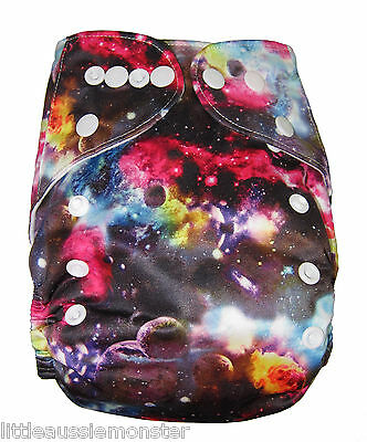 Modern Cloth Nappy (MCN) Brand New + Microfibre insert – Space, Cosmic, Planets