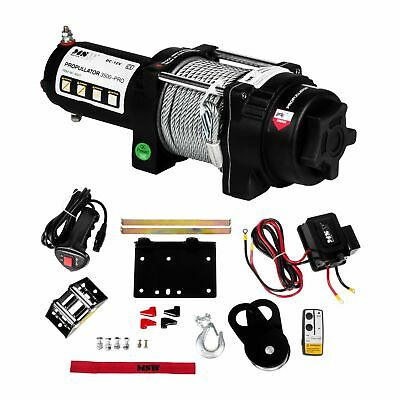 ROPE WINCH - 1587kg ELECTRONIC RECOVERY HOISTING PROFESSIONAL WIRE HOIST 12V NEW