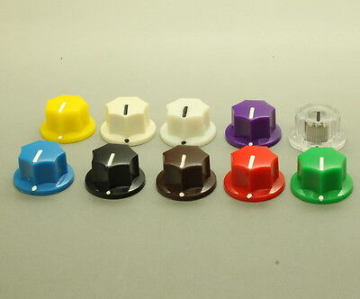 """10 x Effects Pedal Control Knob 19mmDx15mmH for 1//4/"""" Shaft Various Colors"""