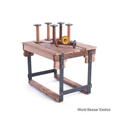 """30"""" L Reclaimed Wood Side Table Iron Legs Industrial Rustic Unique"""