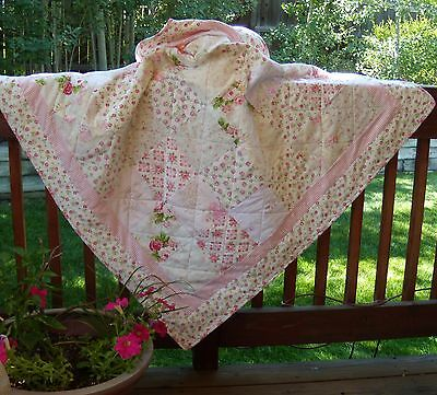 """63-6.5"""" LOVELY GARDEN Pink,Minky,Cotton, Flannel, pre cut QuiltKit  squares"""