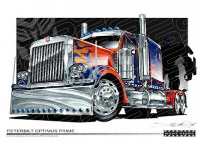 Truck OPTIMUS PRIME PETERBILT TRUCK  STRETCHED CANVAS (M017)