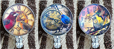 Badge Reel Retractable ID Name Card Holder Steampunk Birds Clocks Watches Retro