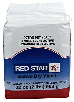2 POUND PACK (32oz)~RED STAR ACTIVE DRY YEAST~ Vacuum Sealed, Bakers *FREE SHIP*