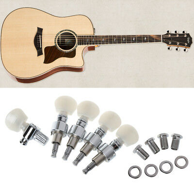 5 String Banjo Geared Nickel Tuners Chrome Plated Machine Heads White Buttons