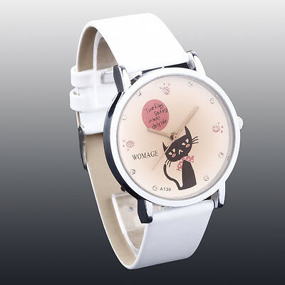 New Women's Girls' White Fashion Cute Cat Artificial Quartz Watch Hand Watch