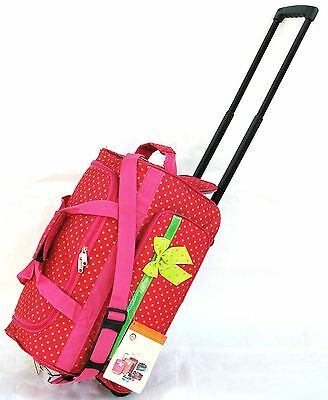 "20"" 40LB. PINK WITH GREEN POLKA DOTS ROLLING WHEELED DUFFLE BAG LUGGAGE CARRY ON"