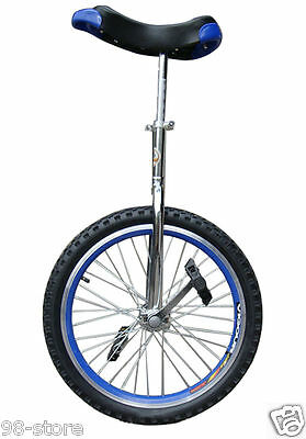 """20"""" in & Out Door Chrome Unicycle in Blue, Brand New"""