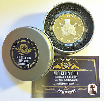 "2014 Ned Kelly ""The Last Outlaw"" 1 Oz Coin and Collectors Tin C.O.A. Only 2,500"