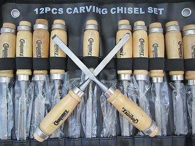 New 12pcs Professional Wood Carving Chisels Hand Tools Kit w Alloy steel blade