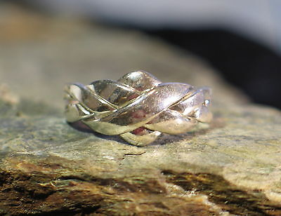 Ring Silber Puzzlering Flechtring 4 teilig Puzzle