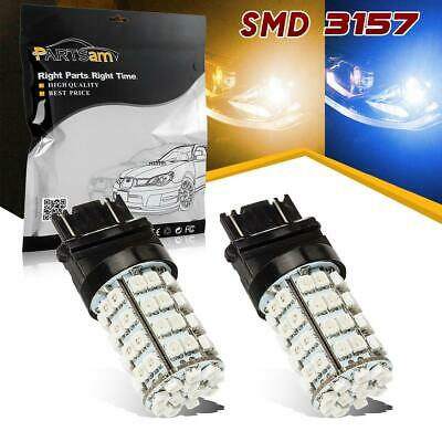 2pc 3157 4114 Switchback Blue DRL Amber Front Turn Signal Light Epistar Dual LED